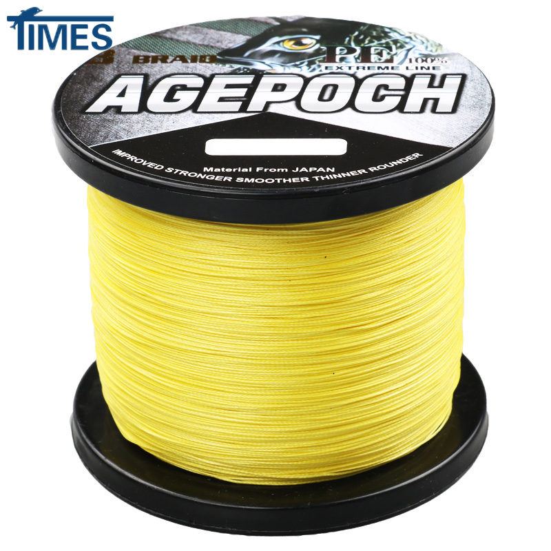 Brand 8 Strand 1000M 6-300LB Braided Fishing Line Multifilament Line Wire Material From Japan Yellow for Seawater Fishing hgyikun brand 1000m 8 strand pe multifilament braided fishing line saltwater freshwate 50lb 60lb 70lb 80lb