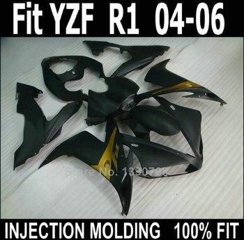 ABS plastic fairings for YAMAHA injection molded YZF R1 2004 2005 2006 black fairing kit YZFR1 04 05 06 XF45