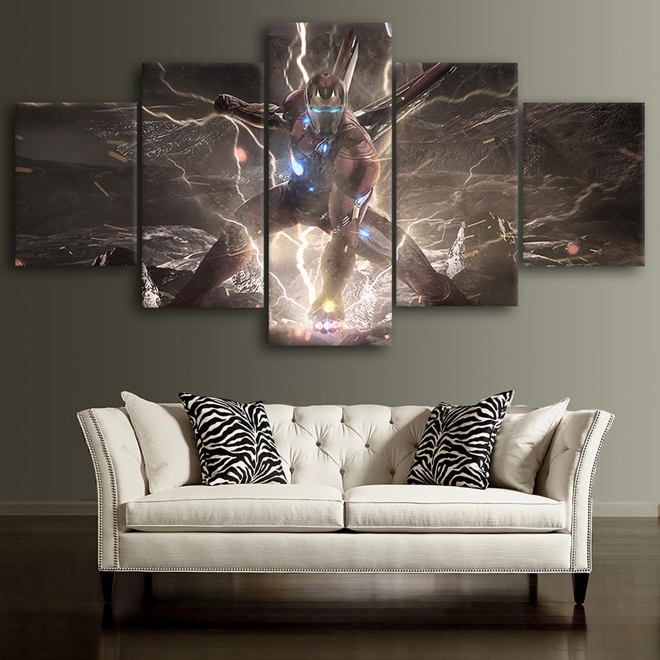Framed Iron Man Marvel Movie Poster 5 Piece Canvas Print ... |Man Canvas Print