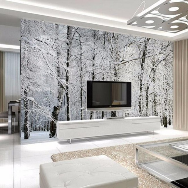 Beibehang Schnee Birke Wald Landschaft Winter Foto Tapete Hause Dekoration  Tapete 3D Wohnzimmer Schlafzimmer Tapete Wandbild