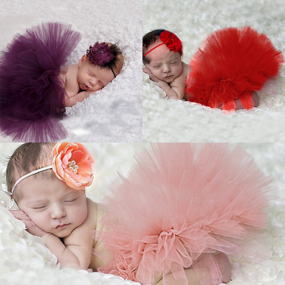 Newborn Toddler Baby Girls Flower Headband+Tutu Skirt Costume Photo Prop Outfits