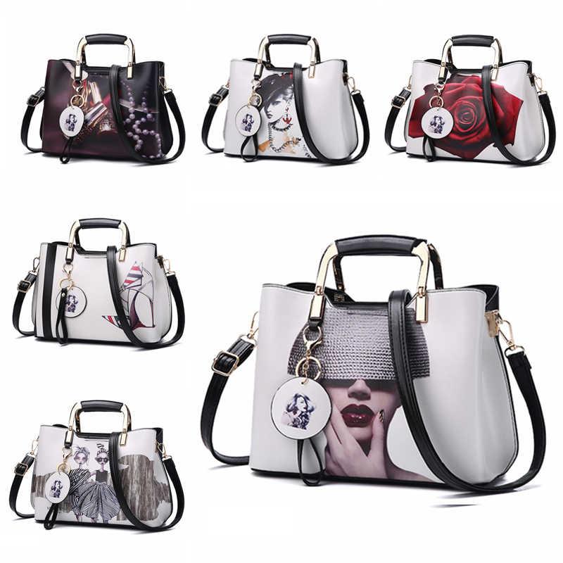 Nevenka torebki damskie Fashion Style torebki damskie malowane na ramię wzór kwiatowy Messenger torby skórzane Casual Tote torba wieczorowa