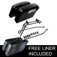 TCMT High Quality ABS Hard Saddlebags Saddle Bags W/ Conversion Brackets For HARLEY DAVIDSON Softail