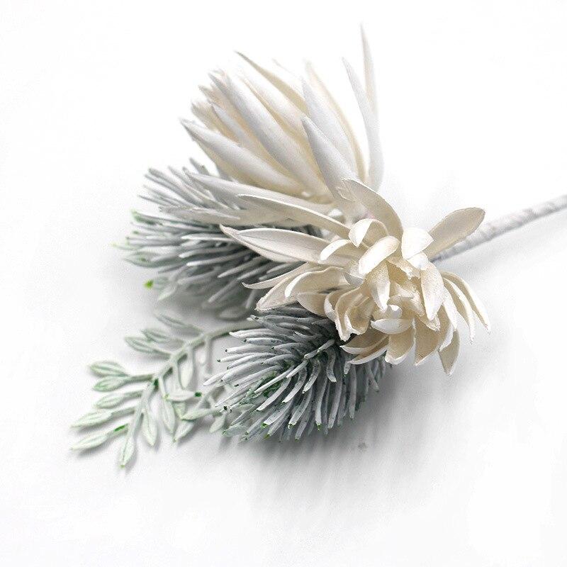 1 pc branco artificial pinho flores para decoração de mesa de casamento plástico seda cinza pampas grama decoração de natal 8*16cm