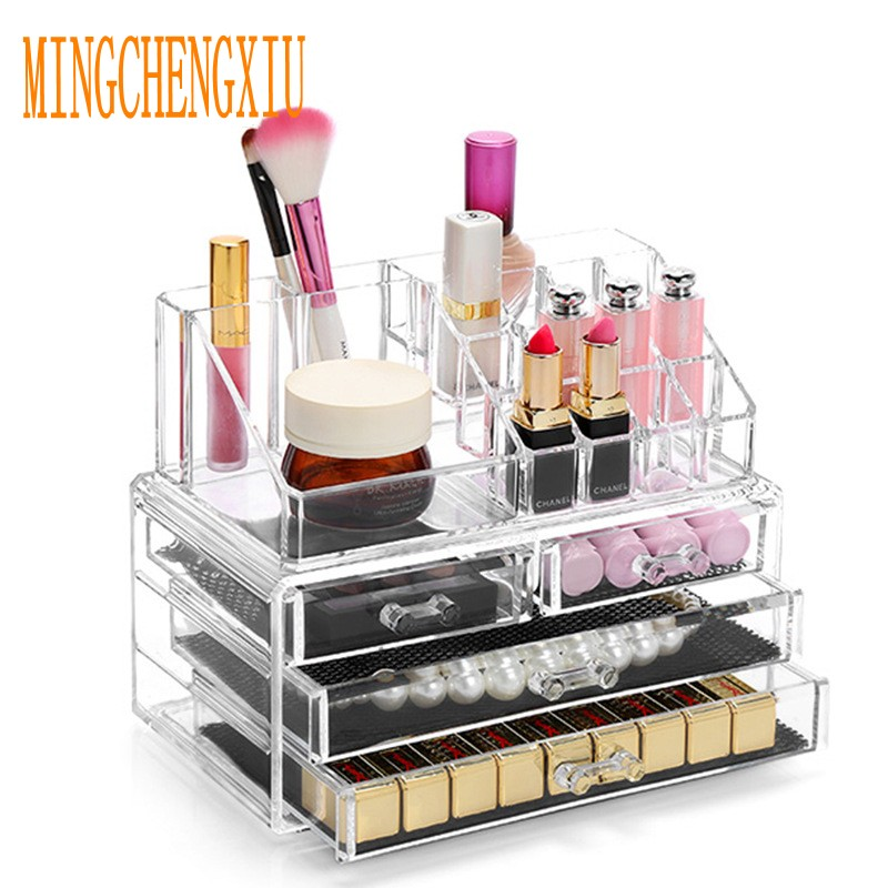 Choose Funny Acrylic Makeup Organizer Storage Box Nail Polish with Cosmetic Case Container Storage Drawer Beautician Organizer makeup organizer box