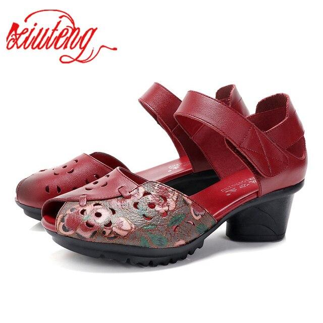 Xiuteng Hakiki Deri kalın Topuklu Peep Toe Pompaları Kadın Ayakkabı Yaz Rahat Bayanlar Hooe Ayakkabı Bağbozumu Pompaları Topuklu Kadın Bahar