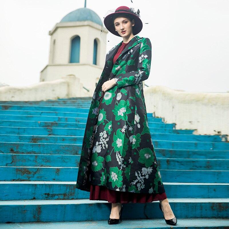 Mode vent Tranchée Feuilles X Vert Poitrine Imprimé Coupe Survêtement 2019 Floral Femmes Automne Printemps Unique long Xxxxl Manteau wwg8qt0