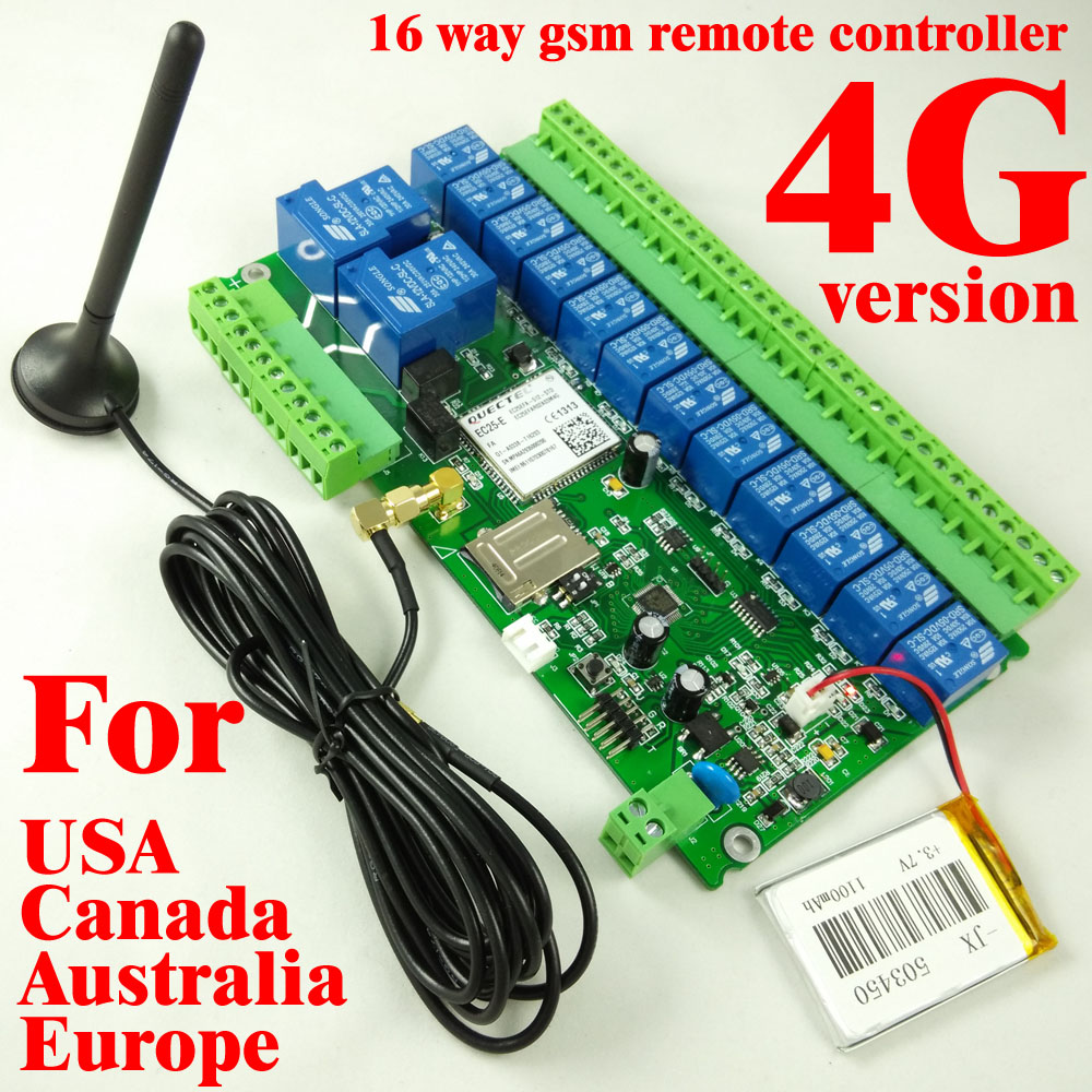 1pcs 4G Version 16ch Relay Real-Time 4G / 3G / GSM Remote Control board Rechargeable battery for power off alarm