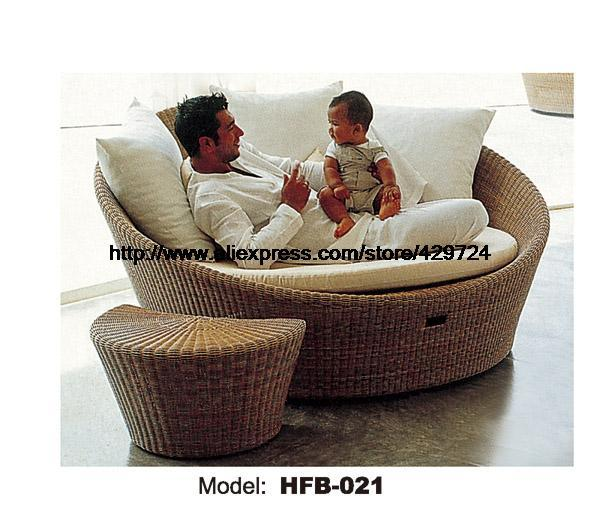 Creative Rattan Sofa Bed Leisure Lying Lounge Chair Garden