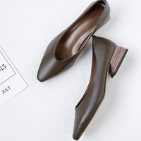 hot VANGULL women Genuine Leather shoes cow leather pointed toe office shoes career shoes all match women pumps low heel shoes