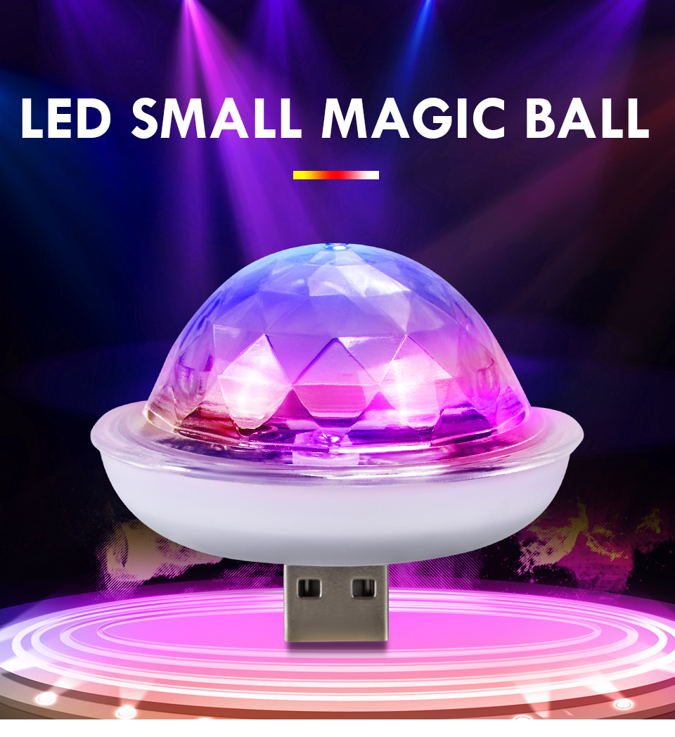 USB Sound Control Decorative LED Lights Christmas Holiday Decoration Rotate Disco Ball Dj Stage Light RGB Wedding Party Lights (1)