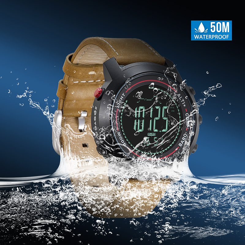 Official Website Spovan Mens Watch With Genuine Leather Band 50m Waterproof Sport Watches Compass Led Backlight Multifunction Wristwatch Mg01b Men's Watches
