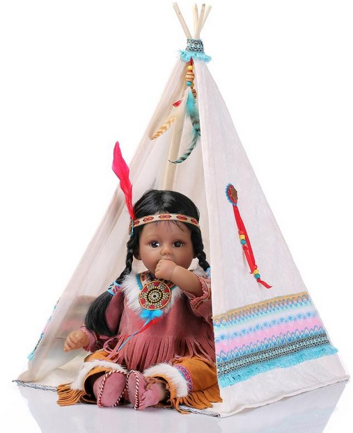 50cm Silicone Reborn Baby Doll Toys Native American Indians Black Skin Newbabies Reborn Girls Brithday Present collectable Doll