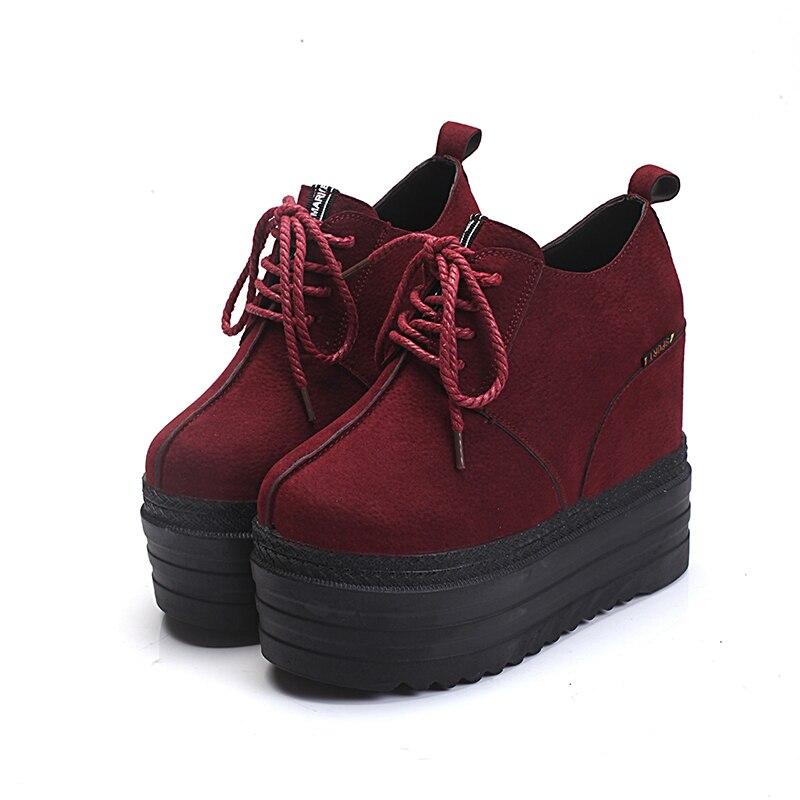 Gâteau Chaussures Marée En chocolat De vin Rouge Épais Wedge New 13 Femmes Fond Casual Daim Cm Noir Automne qUEO7w