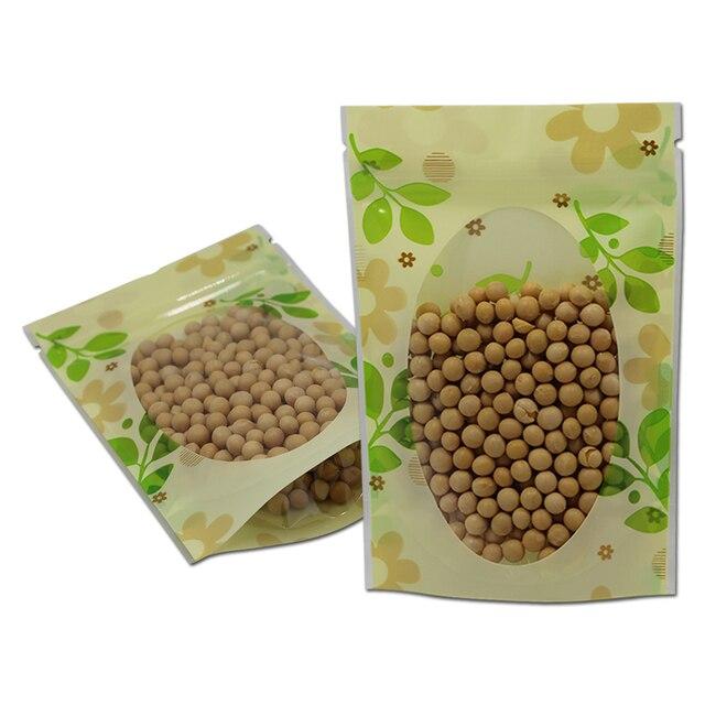 100 шт./лот 14*20 см-стойка термозастежка Топ чемоданчик зеленый лист конфеты хранение Doypack пакет для хранения на молнии чехол прозрачное окно