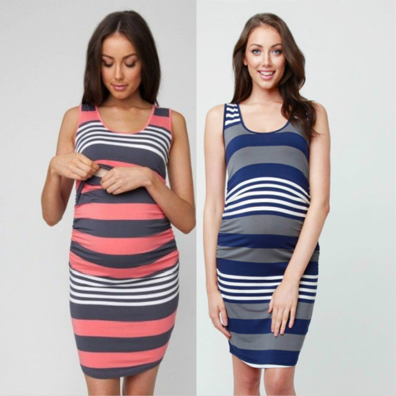 Mother Maternity Clothings Dress Stripe 5 Styles Pregnant Woman Nurse Sleeveless Clothes Europe and America Fashion 2018 New