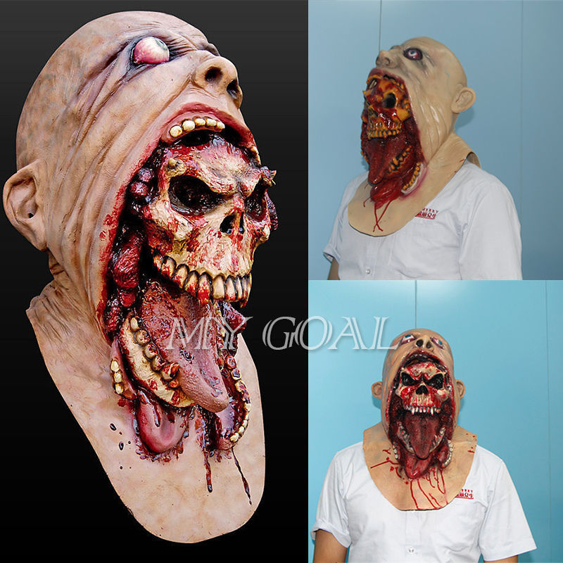 halloween latex bloody mask zombie face melting walking dead horror costume party prop - Bloody Halloween Masks