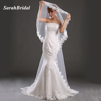 Cheap Lace Appliques One Layer Chapel Long 3M Wedding Veils Ivory Lace Edge Bridal Veil Wedding