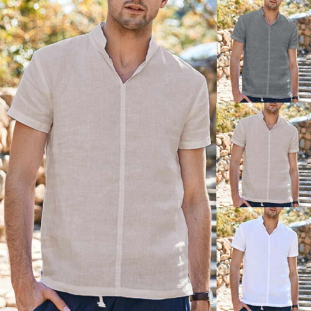 JAYCOSIN シャツ夏リネンシャツ男性純粋な綿麻半袖ブラウス快適なトップ男性服新スタイルのファッション 426