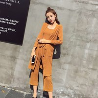 Women's Casual Basic Tracksuit Women 3 Pieces Set Knitted Tops Cardigan Wide Leg Pants Pockets Women's Sets Women's Sets