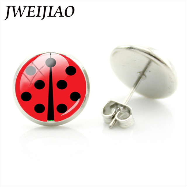 JWEIJIAO Ladybug Stud Earrings Glass Gems Circle Round Insect Earring For Women Girls Ladybug Ear Jewelry Wedding Xmas Gift LB01