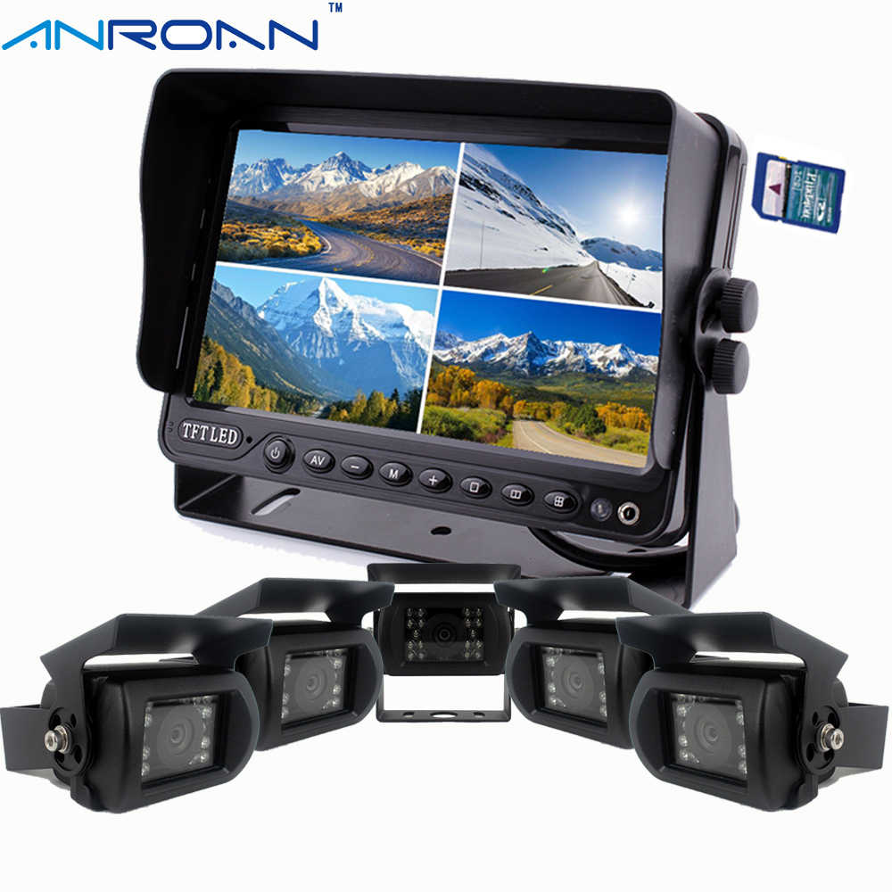 "9 ""DVR Perekam Monitor Quad Layar Split 5 X Kamera Rear View Backup Sistem Kamera Kit untuk Truk Caravan trailer Harvester"