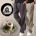 Хлопок и льняные брюки штаны молодежи большие ярдов прямо канистра льняные брюки тонкие брюки прилив