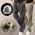 Cotton and linen slacks sweatpants youth big yards straight canister linen trousers thin trousers tide