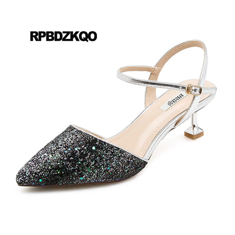 fd87a703c7c US $45.26 36% OFF|Stiletto Pointed Closed Toe Paillette Sequin Shoes Women  Low Heel Gold Wedding Bling Bling Black Double Strap Sandals Glitter-in ...