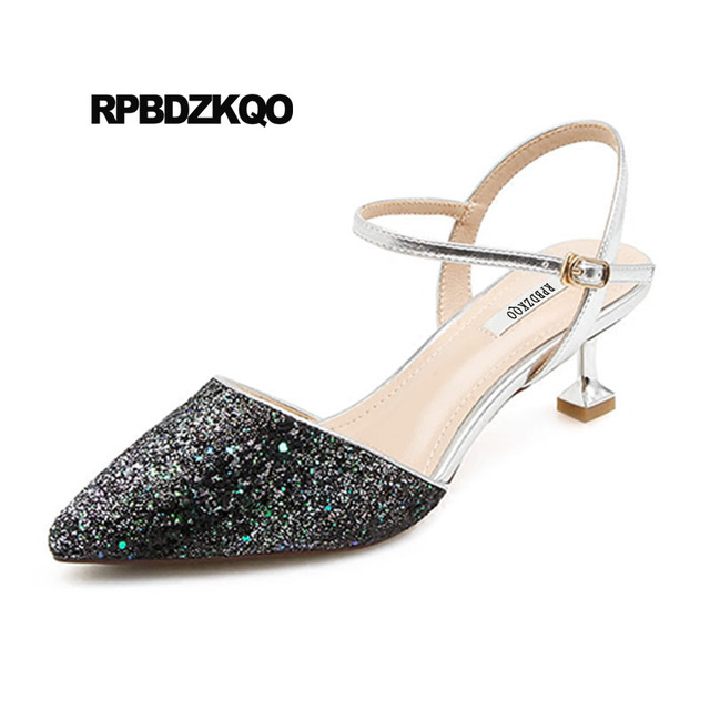 Stiletto Pointed Closed Toe Paillette Sequin Shoes Women Low Heel Gold Wedding Bling Black Double