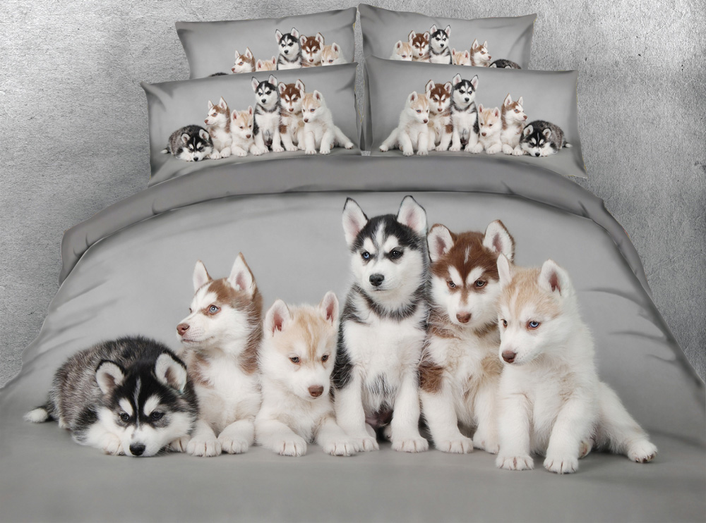 jf 107 husky babies 3d digital animal print bed sheet set