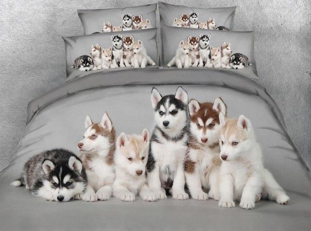 Jf 107 Husky Babies Digital Animal Print Bed Sheet Set Dog Blanket Duvet Covers