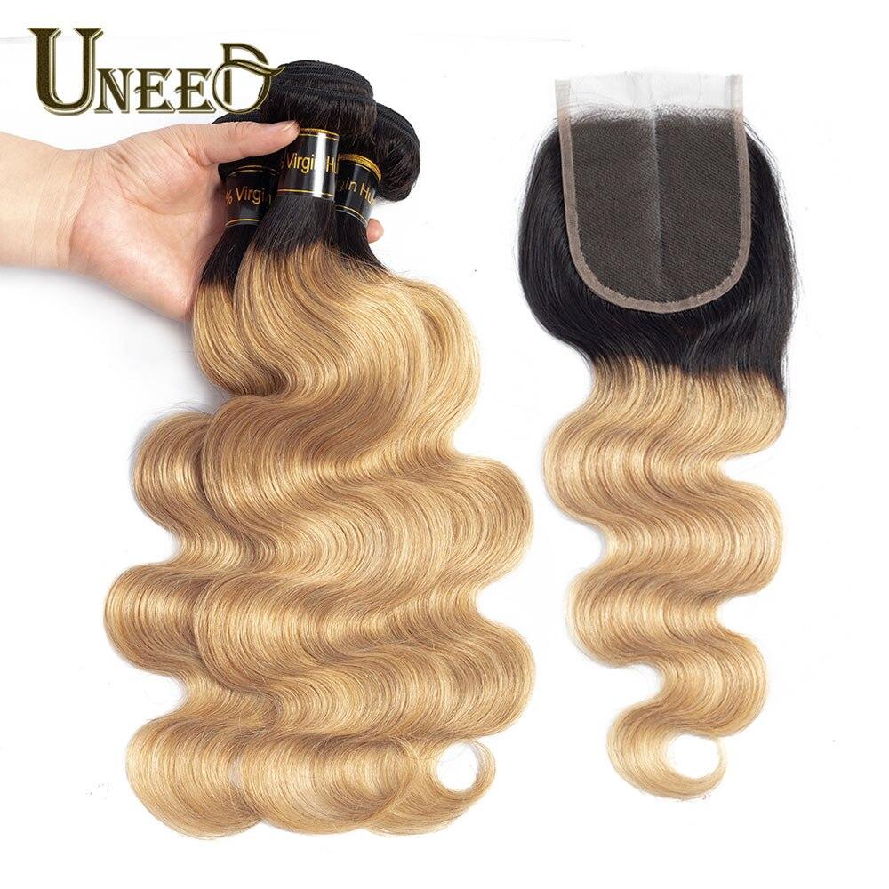 Uneed ブロンド人間の髪のバンドル閉鎖ブラジル実体波 3 バンドルにレースクロージャーダーク根 1B/27 無 Remy 毛織り  グループ上の ヘアエクステンション & ウィッグ からの 3/4 バンドル留め具付き の中 1