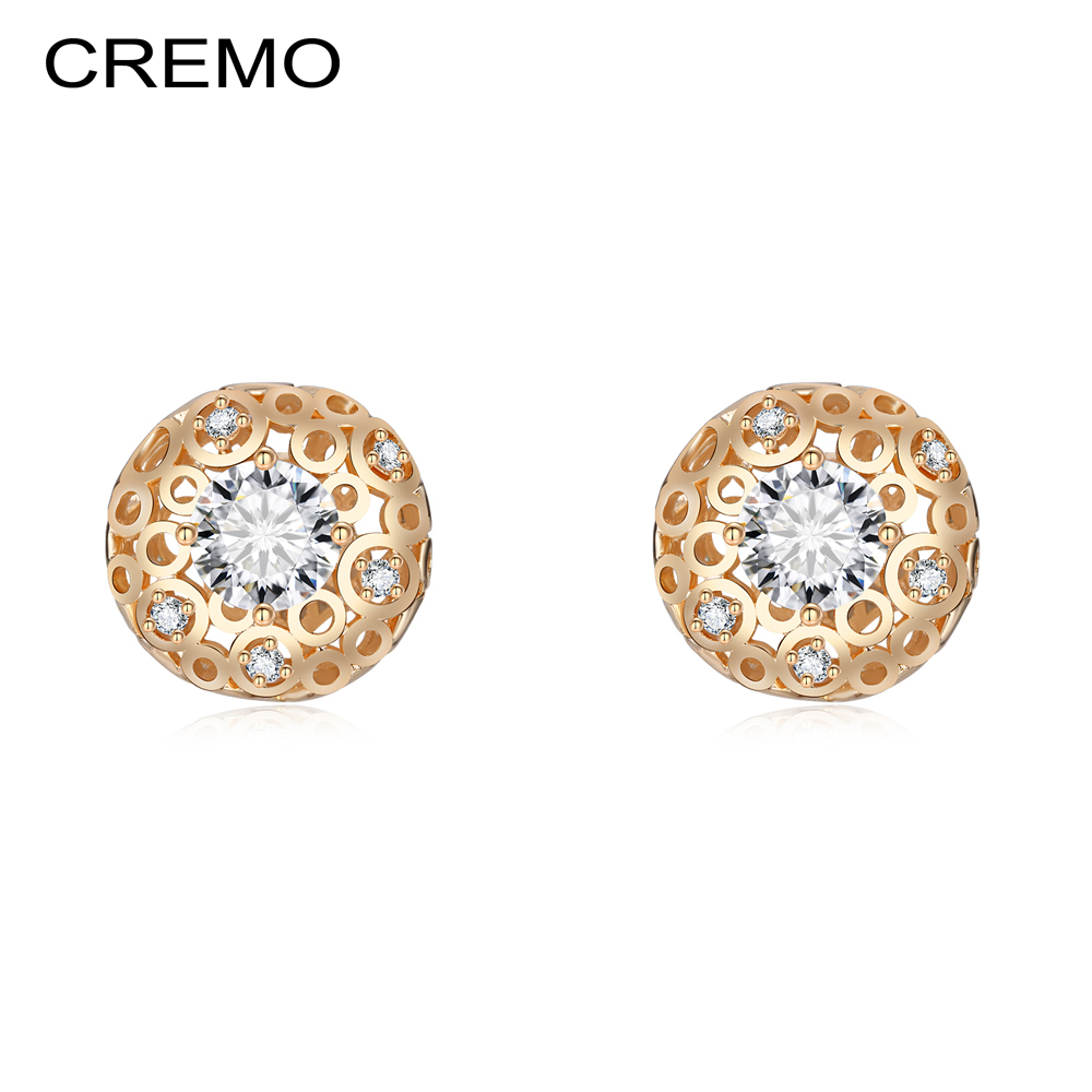 Cremo Round Diamond Shape Stud Earrings For Femme Bijoux Boucles D'oreilles Pour Les Femmes Cristal De Swarovski De Mode 9mm