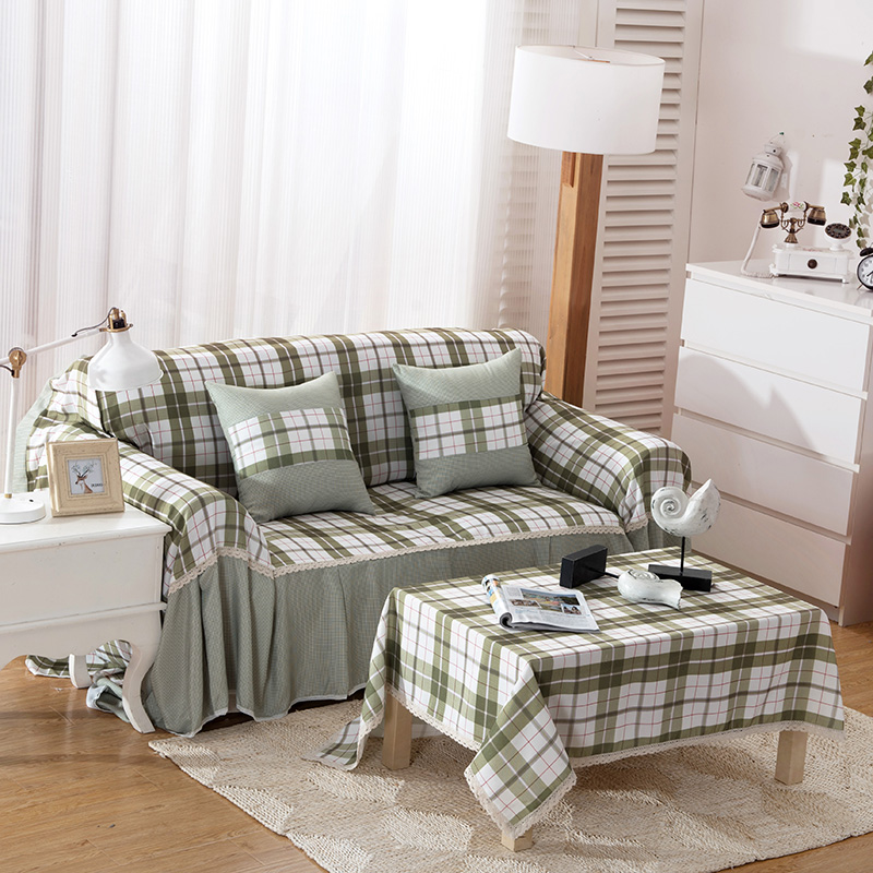 SunnyRain Polyester Plaid Green I Shaped Sofa Cover Sectional Sofa Covers  Slipcover Couch Cover Chaise Longue