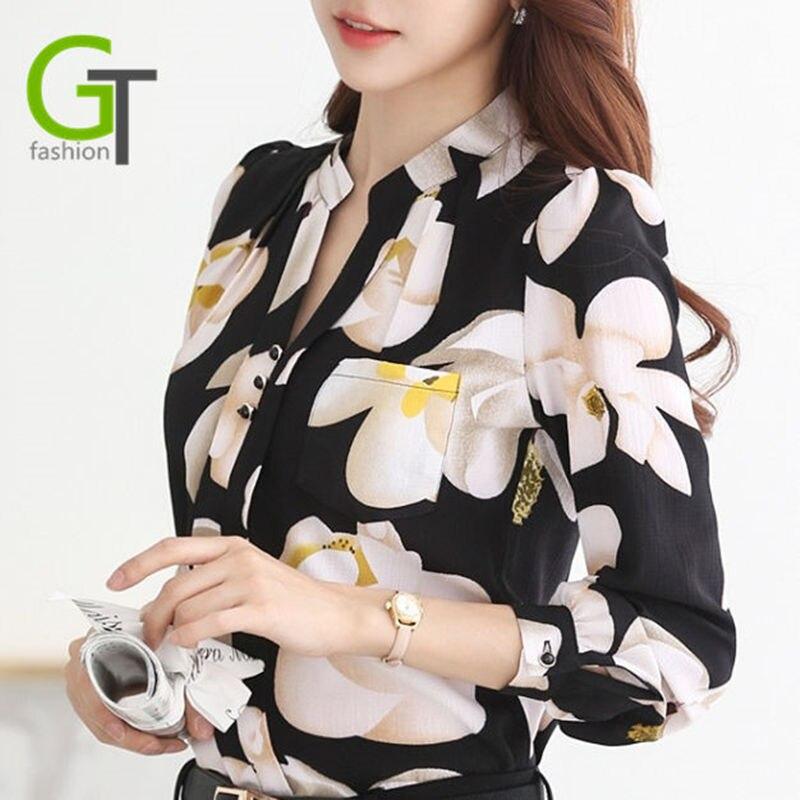 Nuevo  Otoño de La Manera V-cuello de La Gasa Blusas Mujeres Delgadas Blusa de G