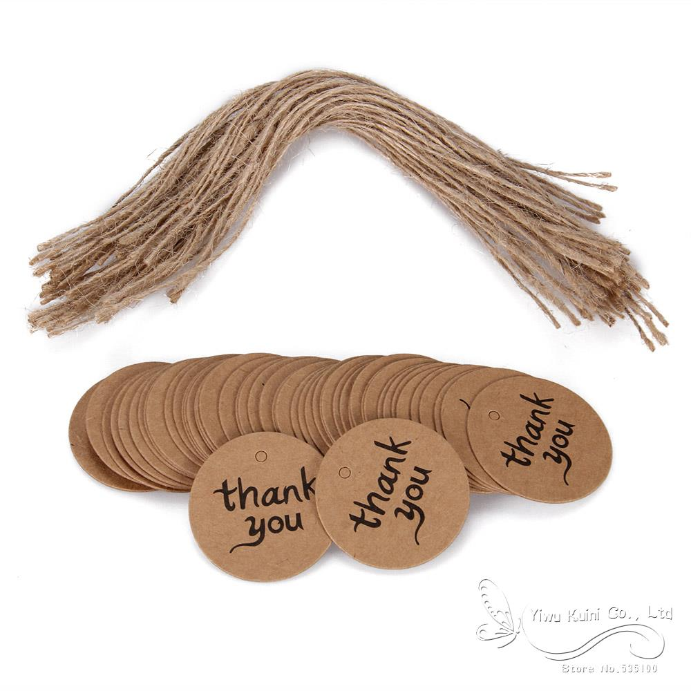 100Pcs Thank You Gift Tags Brown Kraft Paper Tags Wedding Cards Brown Round 4Cm Diy Party Decorations