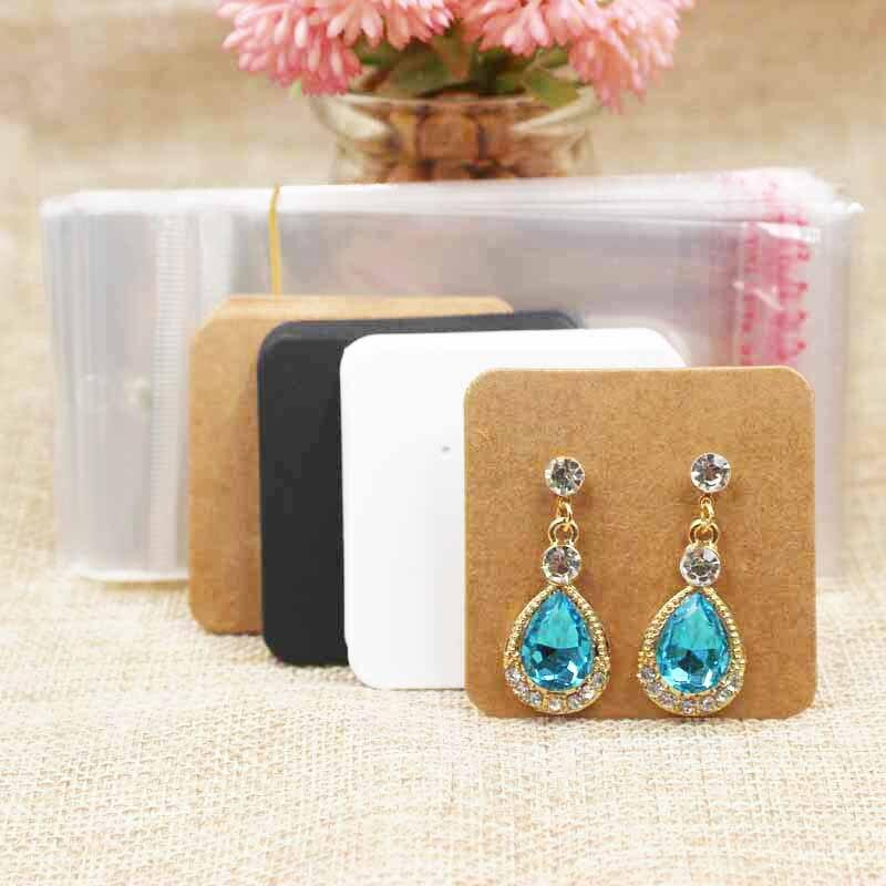 ZerongE Jewelry Blank Cute Stud Earring Display Card 100pcs +100pcs Opp Bag For Stud/drop Earring Packing Custom Cost Extra
