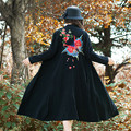 Embroidery Black And Red Women's Trench Coat High Quality Cotton Linen Long Design O-neck Coat One Button Windbreaker