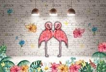 Laeacco Tropical Flamingo Gray Brick Wall Palm Tree Leaves Shiny Light Baby Photo Backdrops Photographic Background Studio