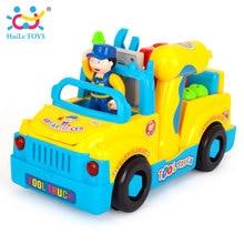 HUILE TOYS 789 Bump'n'Go Toy Truck elektromos fúróval és különféle szerszámokkal, lámpákkal és zenés játékokkal a gyerekeknek Baby Toy Ajándék