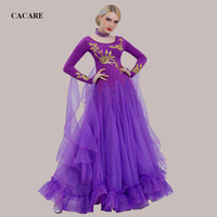 Ballroom Waltz Dresses Dance Competition Dresses Ballroom Dress Standard Customized Size D0460 Long Sleeve 7 Colors Big Hem