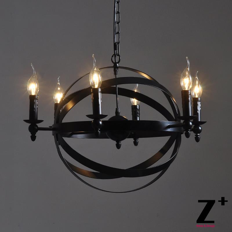 Industrial Vintage  Round Sphere Atom Nucleus Chandelier Wrought Iron  Plate Metal E27 Free Shipping