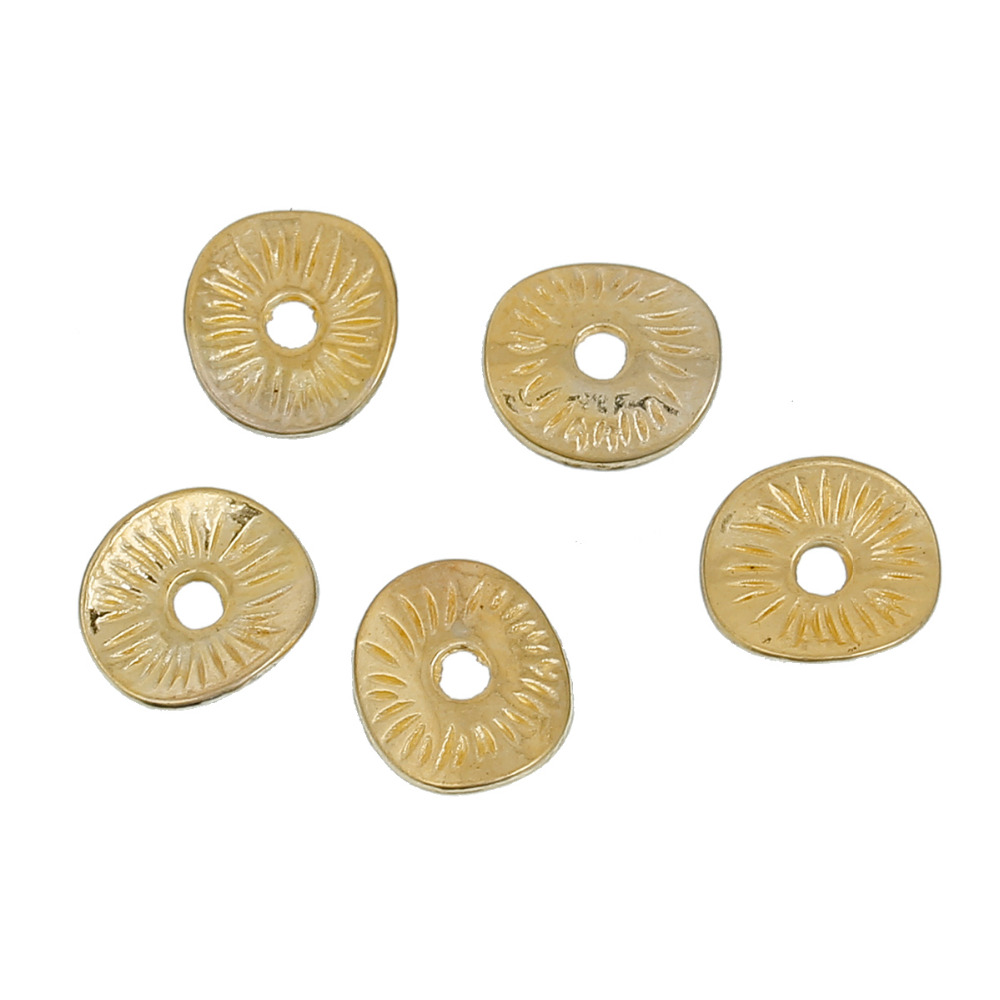 DoreenBeads Zinc Based Alloy Gold Color Wavy Spacer Beads DIY Components 9mm( 3/8) x 8mm( 3/8), Hole: Approx 1.7mm, 200 PCs