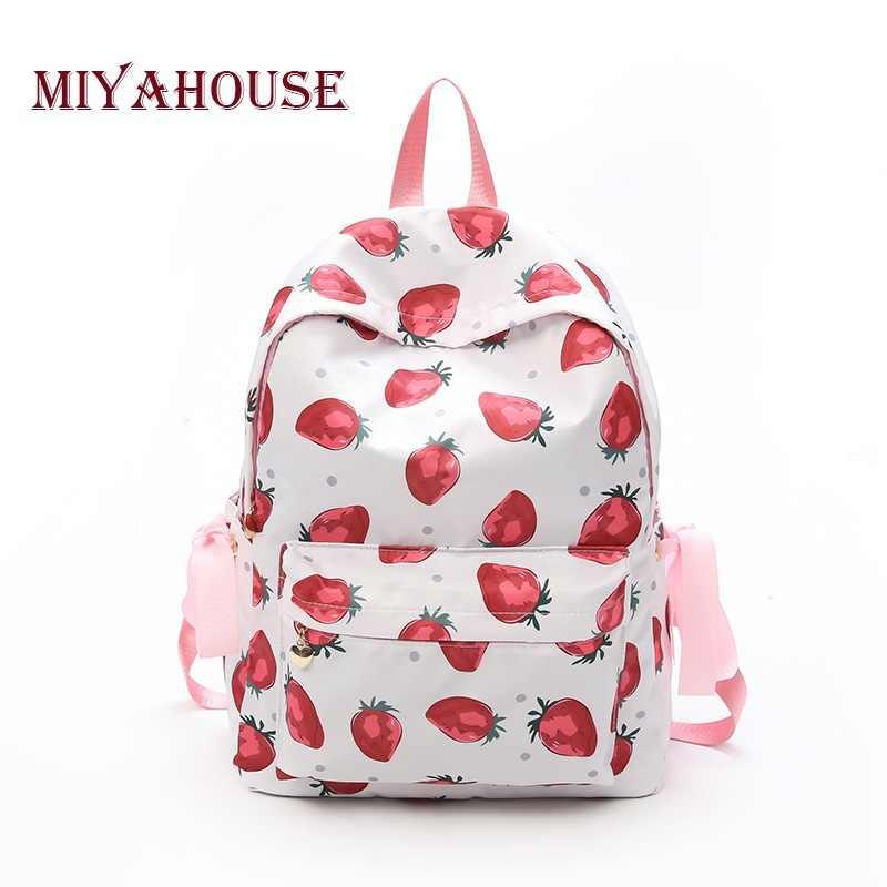 b1a8e7879b24 Miyahouse милые карамельный цвет холст рюкзаки с принтом клубники школьная  сумка для учебников для девочек лук
