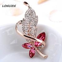 Korean Fashion Pearl Leaves Swan Brooch Pin Korean Crystal Brooch Sweater Scarf Buckle Accessories