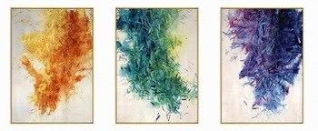 Pintura de Color púrpura verde amarillo arte tríptico decorativo lienzo Adhesivo de pared con pinturas póster cuadros para el Hogar granja casa decoración regalo