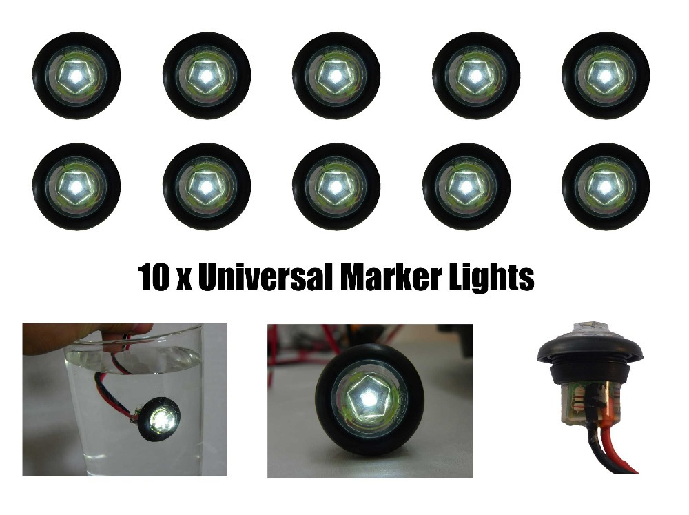 Custom 10 New 34 Clear LED Clearance Marker Truck Trailer Round
