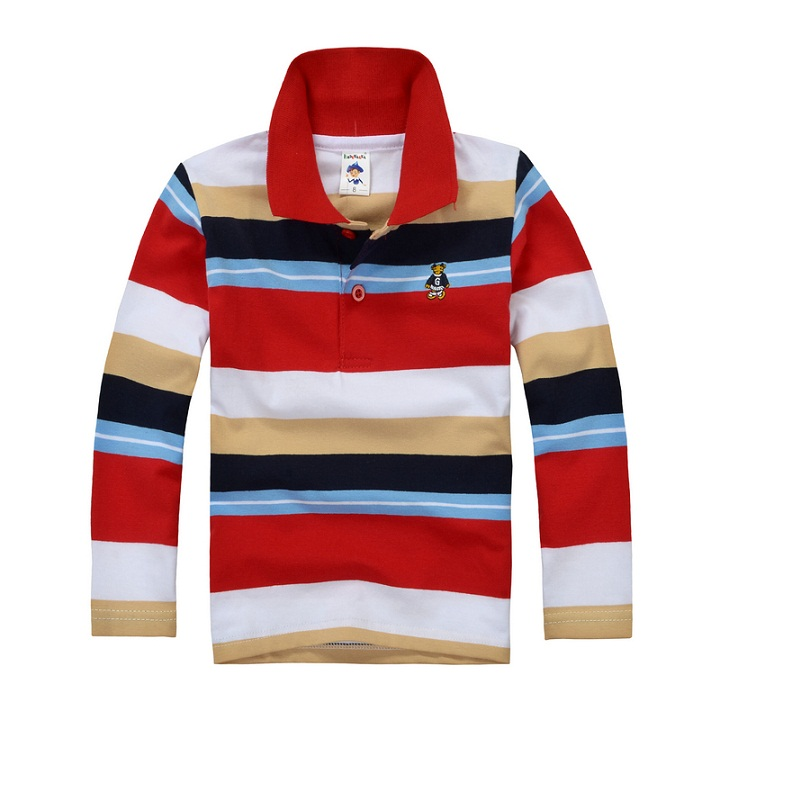 все цены на High quality boys polo shirt Children long sleeve shirt warm cotton T-shirt 2-12 years