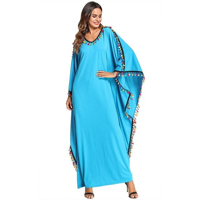 9afb0f7073c4c 2018 Muslim Dress Batwing Abaya Tassel Patchwork Bat Sleeve Women Caftan  Long Robe Arabe Ramadan Dubai Islamic Moroccan Kaftan